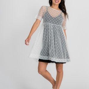 Short Mesh Easy Dress White Dot